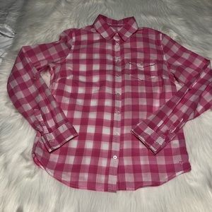 Aeropostale pink and white gingham button up shirt